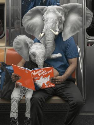 lecture métro new york peinture à l'huile mattehew Grabelsky