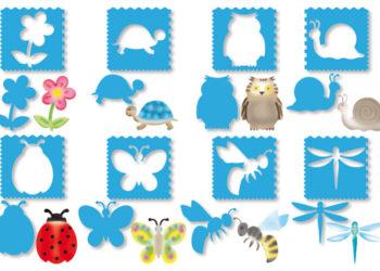 pochoirs nature et insectes printemps pour activité dessin et peinture
