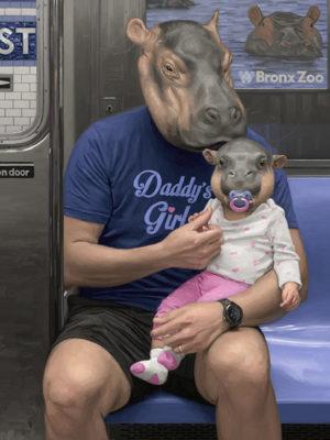tableau peinture hippopotame métro new york mattehew Grabelsky