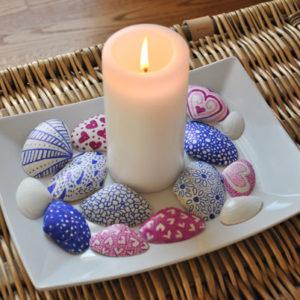 idee cadeau fête des mères bougies et coquillages décorés