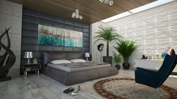 chambre adulte avec décoration murale tête de lit